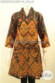 Pakaian Batik Wanita Elegan Dan Berkelas, Busana Batik Dress Kerah Langsung Daleman Full Furing Tricot, Tampil Mewah Dan Istimewa [DR8684PF-M]