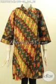 Pakaian Batik Elegan Desain Modis Spesial Untuk Wanita Dewasa, Dress Batik Motif Klasik Lengan 7/8 Pas Untuk Acara Resmi Dengan Kerah Shanghai Dan Resleting Belakang [DR8790PB-XL]