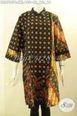 Batik Dress Wanita Gemuk XXL, Busana Batik Model Kerah Shanghai Resleting Belakang Lengan 7/8 Untuk Kerja [DR8794PB-XXL]