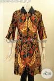 Produk Busana Batik Dress Wanita Desain Terbaru, Hadir Dengan Lengan 3/4 Kombinasi Kerah Polos Motif Bagus Dan Di lengkapi Resleting Depan, Menunjang Penampilan Lebih Istimewa [DR8903P-M]