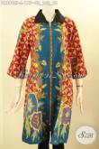 Model Busana Batik Formal Untuk Wanita Dengan Sentuhan Modern Nan Modis, Dress Batik Elegan Motif Mewah Lengan 3/4 Kerah Polos Resleting Depan, Di Jual Online 100 Ribuan Saja [DR8908P-L]