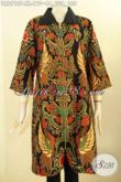 Model Pakaian Batik Wanita Untuk Tampil Gaya Dan Berkelas, Dress Batik Mewah Motif Bagus Desain Kombinasi Kerah Kain Polos Lengan 3/4 Dengan Resleting Depan, Tampil Cantik Anggun Mempesona [DR8910P-XL]