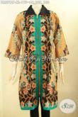 Produk Baju Batik Cewek Motif Terbaru Nan Mewah, Busana Batik Dress Elegan Model Lengan 3/4 Resleting Depan Kombinasi Kerah Kain Polos, Cocok Banget Untuk Acara Resmi [DR8912P-XL]