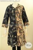 Baju Batik Dual Motif, Dress Batik Resleting Depan Nan Istimewa Dengan AKsesoris Kancing Dan Pita Di Bagian Dada Kanan Kiri, Pas Banget Untuk Acara Santai Dan Resmi [DR8921PB-L]