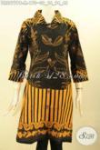 Baju Batik Dress Kancing Depan Lengan 7/8, Busana Batik Istimewa Model Kerah Kwalitas Bagus Motif Bagus Proses Printing Cabut, Tampil Terlihat Anggun [DR8977PB-M]