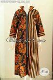 Baju Batik Wanita Muslimah, Gamis Batik Long Dress Bagus Desain Resleting Depan Dengan Motif Klasik Printing, Tampil Lebih Anggun [G7678P-M]