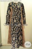 Pakaian Batik Kerja Wanita Berhijab, Gamis Batik 2 Model A Pakaian Berkelas Tampil Mempesona Dengan Kancing Depan Dan Dual Motif [GM8302PB-XL]