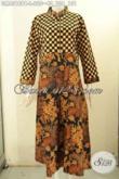Jual Baju Batik Gamis Online, Pakaian Batik Wanita Krah Shanghai 2 Motif Bahan Adem Pakai Kancing Depan Tren Mode Masa Kini Hanya 220K [GM8310PB-L]