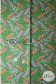 Kain Batik Murah Motif Daun Warna Dasar Hijau Cocok Untuk Bahan Rok, Blus Dan Kemeja [K1712P-200x105cm]