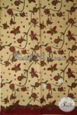 Kain Batik Kombinasi Tulis Motif Kupu-Kupu, Batik Warna Kombinasi Cream Dan Merah, Modis Untuk Blus Keren Buat Dress [K1912BT-240 X 110 cm]