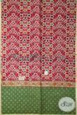 Kain Batik Tiga Motif Kombinasi Warna Merah Dan Hijau, Batik Bagus Bahan Hem Trendy Lelaki Tampil Makin Macho [K1936CT-200X110 cm]
