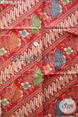 Jual Kain Batik Warna Merah Motif Bagus Cocok Untuk Kemeja Pria, Batik Printing Solo Istimewa Harga Cuma 60 Ribuan [K2755P-200x110cm]