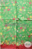 Batik Hijau Motif Bunga, Kain Batik Istimewa Buatan Solo Asli Bahan Baju Kerja Wanita Karir [K2831P-240x105cm]