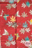 Batik Solo Warna Merah Motif Daun Pepaya Proses Printing, Kain Batik Bagus Bahan Pakaian Pria Wanita Untuk Tampil Mempesona Hanya 65K [K3080P-200x115cm]