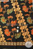 Kain Batik Untuk Baju Kerja Pria, Batik Printing Klasik Motif Mewah Dasar Hitam Elegan Hanya 65 Ribu Saja [K3081P-200x115cm]