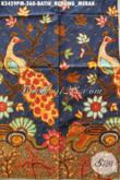 Koleksi Terkini Kain Batik Solo Untuk Pakaian Resmi, Batik Halus Proses Kombinasi Tulis Motif Burung Merak Hanya 260 Ribu [K3429PM-240x110cm]