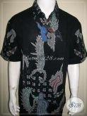 Kemeja Batik Warna Hitam Motif Abstrak, Batik Tulis Modern Tangan Pendek [LD1005T-XL]