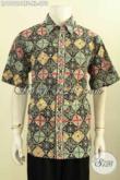 Kemeja Batik Solo Lengan Pendek, Baju Batik Modern Untuk Pria Tampil Gagah Dan Tampan Daleman Full Furing Motif Bagus Cap Tulis Harga 270 Ribu [LD10124CTF-XL]