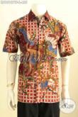 Model Baju Batik Pria Keren, Hem Batik Tulis Mewah Halus Lengan Pendek Daleman Pake Furing Mambuat Penampilan Terlihat Sempurna Harga 455K [LD10137TF-L]