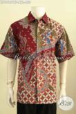 Model Baju Batik Motif Kekinian, Busana Batik Modern Klasik Buat Lelaki Gemuk, Hem Batik Lengan Pendek Full Furing Proses Tulis, Tampil Lebih Macho [LD10151TF-XXL]