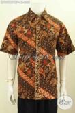Model Baju Batik Cowok Elegan, Kemeja Batik Solo Mewah Halus Full Furing, Hem Lengan Pendek Motif Klasik Cap Tulis Harga Terjangkau [LD10187CTF-XL]
