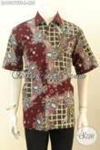Model Baju Batik Kerja Pria Kantoran, Hadir Dengan Kwalitas Mewah Lengan Pendek Full Furing Motif Terkini Tulis Asli Harga 455K [LD10278TF-L]