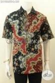 Model Baju Batik Solo Lengan Pendek Spesial Untuk Pria Kantoran, Kemeja Batik Tulis Full Furing Motif Terbaru, Bikin Penampilan Gagah Dan Tampan Maksimal [LD10285TF-L]
