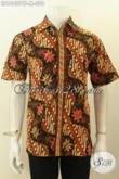 Model Baju Batik Hem Lengan Pendek Keren, Busana Batik Solo Halus Motif Klasik Proses Cap Tulis, Pria Terlihat Tampan Dan Elegan [LD10407CT-M]