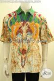 Pusat Baju Batik Lengan Pendek Halus Motif Burung Hong Proses Tuis Remekan, Pakaian Batik Treny Lengan Pendek Yang Bikin Penampilan Tampan Dan Gagah [LD10496TRM-XL]