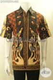 Model Baju Batik Lengan Pendek Pria Terbaru, Busana Batik Kwalitas Premium Motif Klasik Sinaran Proses Tulis Daleman Full Furing, Tampil Gagah Mewah [LD10722TF-L]