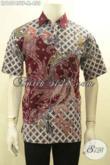 Model Baju Kemeja Batik Lengan Pendek Premium 2018, Hem Batik Mahal Eksklusif Untuk Pria Sukses Bahan Halus Motif Elegan Proses Tulis, Tampil Gagah Menawan [LD10745TF-M]