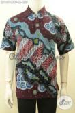 Koleksi Baju Batik Eksklusif Untuk Pria Sukses, Hem Batik Premium Full Furing Lengan Pendek Motif Bagus Proses Tulis Asli Hanya 400 Ribuan [LD10748TF-M]