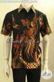 Kemeja Batik Lengan Pendek Motif Burung Hong, Busana Batik Solo Trendy Proses Tulis Soga Kwalitas Istimewa, Tampil Tampan Dan Keren [LD10980TS-S]