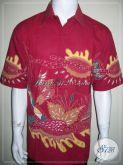 Kemeja Batik XXL, Batik Tulis Warna Merah, Keren Untuk Anak Muda Pemberani [LD1134T-XXL]