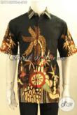 Baju Batik Pria Modern Nan Modis, Busana Kemeja Batik Model Lengan Pendek Motif Tren Masa Kini Proses Tulis Soga Kwalitas Istimewa, Cocok Buat Ngantor Harga Terjangkau [LD11429TS-L]