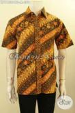 Baju Batik Pria Elegan Model Lengan Pendek, Pakaian Batik Trendy Motif Klasik Proses Cap Tulis Soga, Cocok Buat Kondangan [LD11530CTS-M]