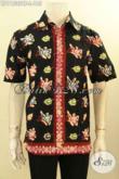 Baju Batik Pria Lengan Pendek Trendy, Busana Batik Solo Halus Desain Keren Bahan Adem Proses Cap Tulis, Tampil Gaya Dan Tampan [LD11535CT-L]