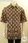 Baju Batik Kerja Pria Gemuk Ukuran XXXL, Hem Batik Jumbo Motif Elegan Trend Masa Kini Proses Printing Cabut Model Lengan Pendek, Di Jual Online 150K [LD11554PB-XXXL]