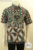Baju Batik Pria Motif Terbaru Keren Dan Unik, Hem Batik Trendy Proses Printing Cabut Desain Modern Model Lengan Pendek, Tampil Tampan Dan Kekinian [LD11641PB-L]