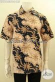 Pakaian Batik Pria Modern, Busana Batik Solo Jawa Tengah Asli Motif Bagus Proses Printing Cabut Lengan Pendek Kwalitas Istimewa, Tampil Tamaapan Elegan Hanya 100 Ribuan [LD11643PB-L]