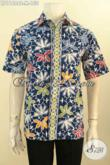 Baju Batik Santai Cowok, Model Busana Batik Trendy Untuk Jalan-Jalan Model Lengan Pendek Bahan Halus Proses Cap, Cocok Juga Untuk Ke Pesta [LD11684C-M]
