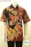 Batik Kemeja Solo Premium Model Lengan Pendek, Baju Batik Kerja Pria Sukses Full Furing Motif Bagus Proses Tulis, Penampilan Gagah Menawan [LD11780TF-L]