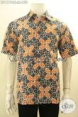 Baju Batik Pria Untuk Tampil Gaya Dan Trendy, Kemeja Batik Solo Lengan Pendek Motif Bagus Bahan Adem Nyaman Di Pakai Proses Cap [LD11794C-M]