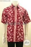 Pakaian Batik Solo Lengan Pendek Motif Bagus Desain Berkelas Tampil Gagah Menawan, Bahan Adem Cocok Untuk Kerja Dan Acara Resmi [LD11800C-L]