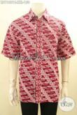 Hem Batik Merah Motif Parang Klasik, Busana Batik Elegan Desain Berkelas Spesial Untuk Lelaki Gemuk, Cocok Buat Kondangan Atau Ngantor [LD11821C-XXL]