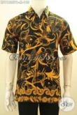 Busana Batik Kerja Lengan Pendek Motif Unik Desain Elegan Dan Berkelas, Pakaian Batik Pria Muda Yang Membua Penampilan Trendy Bergaya [LD11825PB-M]