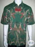 Kemeja Batik Pria Hijau Motif Burung Lengan Pendek Dijual Online Asli Batik Solo [LD1330T-XL]