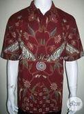 Kemeja Batik Pria Motif Modern Kontemporer, Batik Tulis Warna Merah [LD1331T-XL]