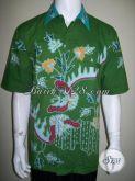Kemeja Batik Pria Modern Warna Cerah Hijau Untuk Kerja Kantor Dan Santai [LD1546T-XL]