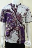 Baju Koko Batik Terbaru Pria Muslim Lengan Pendek, Batik Tulis Kerah Shanghai [LD1719TK-M]